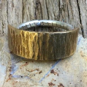 Valentine's Day Ring. Western Ring. Hammered Brass Ring with Sterling Silver Band