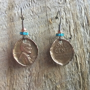 Hammered Wheat Pennies with Crystal Earrings