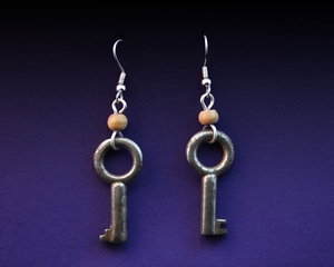 Handcrafted Antique Key Earrings with Bone Beads