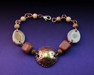 Handcrafted Copper and Brass Bracelet with Antler, Sun Stone and Bone Beads
