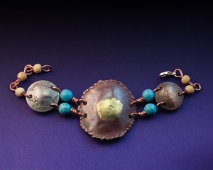 Handcrafted Copper and Brass Bracelet with Buffalo Nickel, Indian Head Penny and Torquoise and Bone Beads