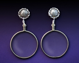 Handcrafted Silver Mercury Dime Earrings with Antique Granny Glasses