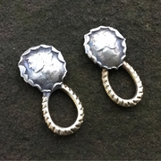 Melted Silver Mercury Dimes with Brass Rope Post Earrings