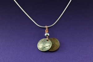 Mercury Dime and Wheat Penny Necklace on Sterling Silver Chain