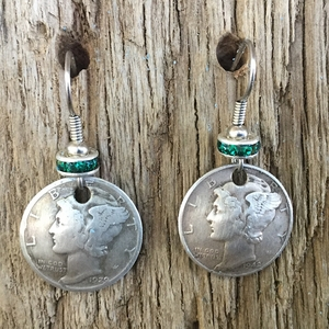 Mercury Dime on Wire with Crystal Earrings