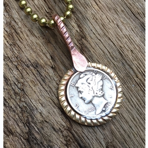 Mercury Dime with Brass Necklace