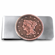 Old American Big Penny. Year may Vary. Handmade Coin Money Clip. Valentine's Day Money Clip. Gift for Dad.