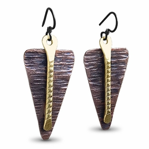 Rustic Copper and Brass Earrings. Lightweight from Scratch Earrings