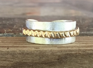 Valentine's Day Ring. Engagement Ring. Brass Rope Ring. Silver and Brass Ring