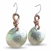 Silver and Copper Heart Earrings