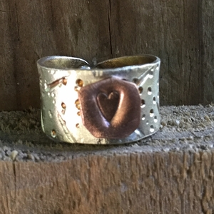 Silver and Copper Heart Ring