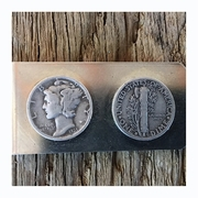 Valentine's Day Gift for Man. Silver Mercury Dime Money Clip. Handmade Money Clip with Mercury and Freedom of Thought.