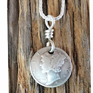 Silver Mercury Dime with Silver Chain Necklace