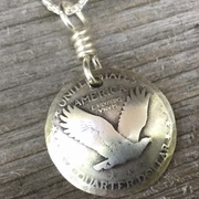 "Silver Standing Liberty Quarter Necklace ""The Eagle"""