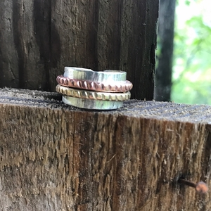 Sterling Silver Band Ring with Brass and Copper. Tri-Metal Ring, Handmade Ring. Valentine's Day Gift for Her.