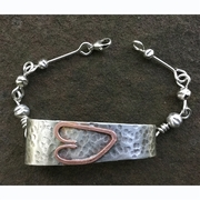 Sterling Silver Bracelet with Copper Heart.  Heart Bracelet.