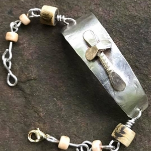Sterling Silver with Brass Cross Bracelet