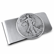 Valentine's Day Money Clip.Walking Liberty Half Dollar Money Clip, Old Coin Money Clip, Handmade Silver Money Clip