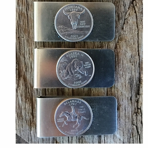 Valentine's Day Gift. Handmade Money Clip from States.Your State Quarter Money Clip