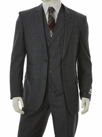 1920s Gray Square Plaid Mens Suit 3 Piece Vittorio F62CP - click to enlarge