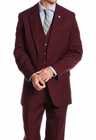 1920s Mens Suits Burgundy Vintage Style 3 Pc. Suny 4017 - click to enlarge