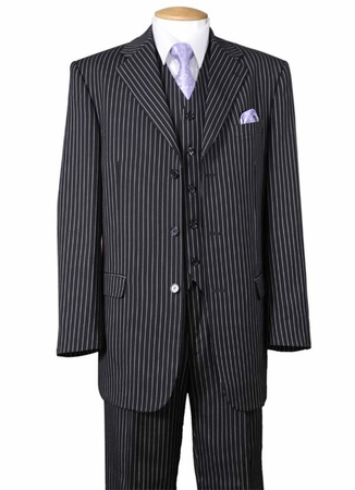 1920s Mens 3 Piece Suit Black Stripe Milano 5802V7 - click to enlarge