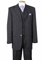 1920s Mens 3 Piece Suit Black Stripe 3 Piece Milano 5802V7