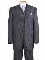 1920s Mens 3 Piece Suit Grey Stripe 3 Piece Milano 5802V7