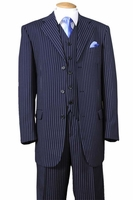 1920s Mens 3 Piece Suit Navy Blue Stripe 3 Piece Milano 5802V7