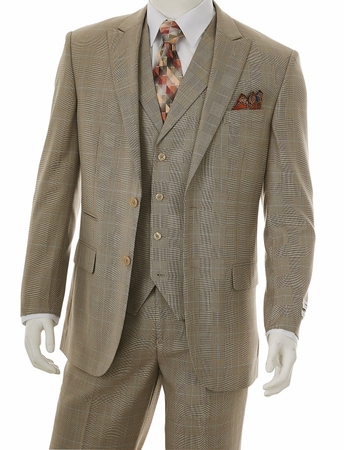 1920s Vintage Style Suit for Men Taupe Plaid 3 Piece F62SP - click to enlarge