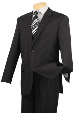 2 Button Mens Suits by Vinci Black Pinstripe Suit 2RS-16 - click to enlarge