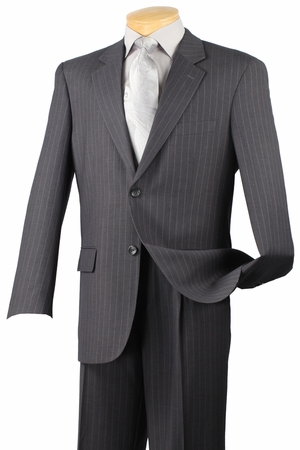 2 Button Mens Suits by Vinci Charcoal Pinstripe Suit 2RS-16 - click to enlarge