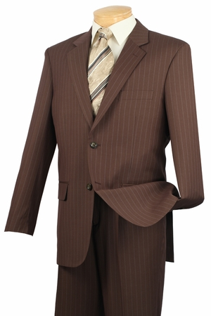 2 Button Mens Suits by Vinci Toffee Brown Pinstripe Suit 2RS-16 - click to enlarge