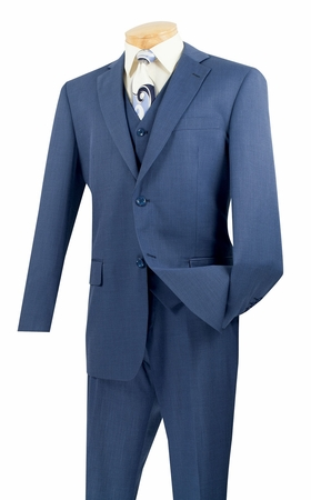 Vinci Blue Textured Mens 3 Piece Summer  Weight Suit V2RK-2 - click to enlarge