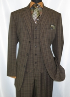 3 Button 3 Piece Suit Mens Brown Plaid 1920s Style Fortino 5802V6