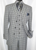 3 Button 3 Piece Suit Mens Grey Plaid 1920s Design Fortino 5802V6
