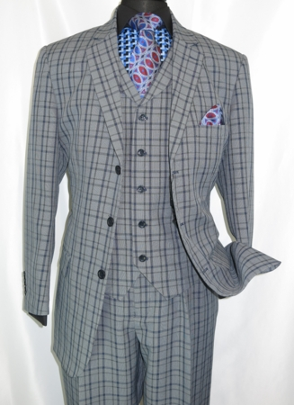 3 Button 3 Piece Suit Mens Navy Plaid 1920s Fortino 5802V6 - click to enlarge