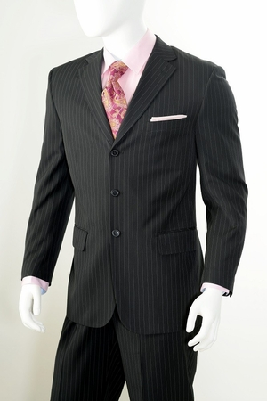Black Pinstripe Suit by Vittorio 3 Button 2 Piece A63ETS - click to enlarge