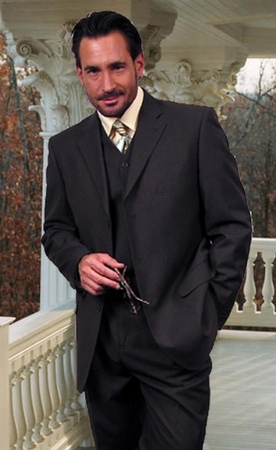 3 Piece Super Fine Wool Charcoal Gray 3 Button Suit Men Alberto 3BVP-1 - click to enlarge