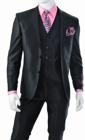 3 Piece Club Style Slim Fit Glossy Black Solid Sharkskin Suit T62SK - click to enlarge