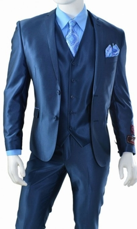 Young Mens 3 Piece Vest Slim Fitted Shiny Navy Blue Suit T62SK - click to enlarge