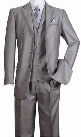 Milano Fortini Men's Silver Sharkskin 3 Pc. Fashion Suit 5909V - click to enlarge