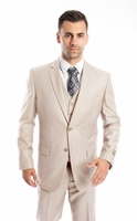 3 Piece Suit Mens Solid Tan Color Regular Fit Tazio M302-34
