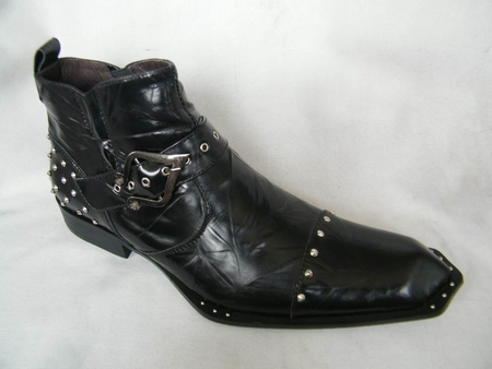 Zota Black Shiny Leather Pointy Metal Toe Boots G4H938 - click to enlarge