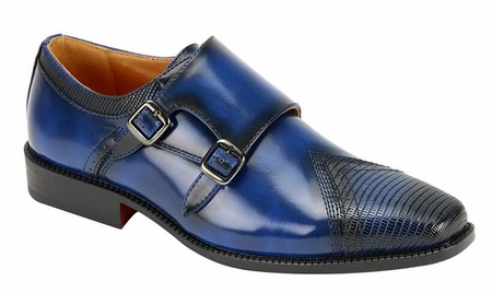 AC Mens Blue Double Buckle Style Dress Shoes 6687 - click to enlarge