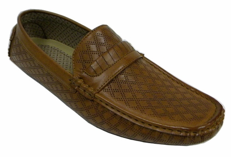 Mens Driving Moc Shoes Tan Diamond Pattern AC 6650 - click to enlarge