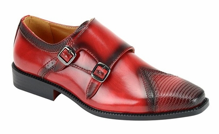 Mens Red Double Buckle Dress Shoes Antonio Cerrelli 6687 - click to enlarge