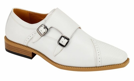 AC Mens White Double Buckle Style Dress Shoes 6687 - click to enlarge