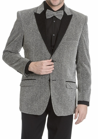 After Midnight Men's Silver Glitter Stage Singer Entertainer Jacket - click to enlarge