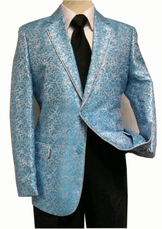 After Midnight Men's Turquoise Silver Entertainer Fashion Blazer 5250-072 - click to enlarge